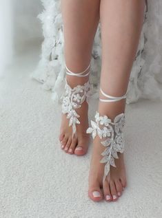 6cd55b87d62e Light Ivory or Ivory Barefoot Lace Sandals BEADED JAMIE Destination ...