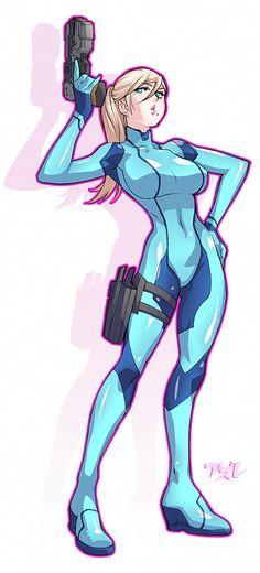 Samus Aran, Zero suit, Metroid series artwork by Azure.