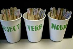 Place terms in correct cup.  The students choose 1 from each cup and create sentence!