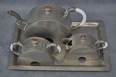 Antique Chinese Pewter Art Deco Tea Set, 1920.