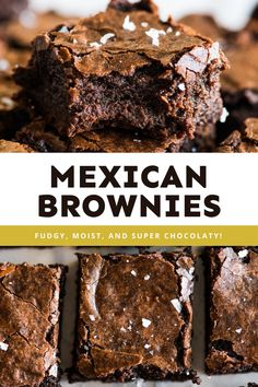 These fudgy and chocolatey Mexican Brownies have a pop of flavor thanks to a little cayenne and cinnamon. Rich in flavor, these seriously addicting brownies are best enjoyed fresh or can be frozen for later. #mexicanbrownies #brownies Hot Chocolate Brownies, Best Chocolate Desserts, Mexican Hot Chocolate, Brownie Desserts, Chocolate Flavors, Brownie Recipes, Mexican Desserts, Mexican Dishes, Mexican Food Recipes