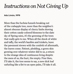 """""""Instructions on Not Giving Up,"""" Ada Limón Pretty Words, Beautiful Words, Poem A Day, Poem Quotes, Some Words, Quotations, Inspirational Quotes, Wisdom, Thoughts"""