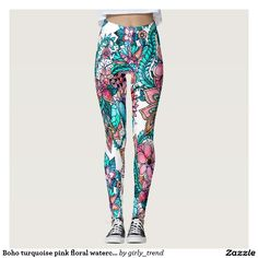 Boho turquoise pink floral watercolor illustration leggings