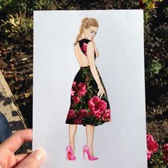 Armenian fashion illustrator Edgar Artis uses stylized paper cut outs and everyday objects to create beautiful dresses. His creative fashion sketches include such items as rose petals, various plants and food, even buildings. Arte Fashion, Fashion Design, Silhouette Mode, Moda Floral, Kleidung Design, Cut Out Art, Dress Drawing, Drawing Art, Drawing Sketches