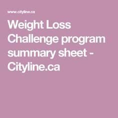Weight Loss Challenge program summary sheet - Cityline.ca