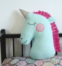 Image of Unicorn Pillow with Hot Pink Fringe