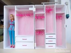 How to Make a Barbie Doll Closet | So I decide to make her a bigger and more beautiful handmade Barbie ...