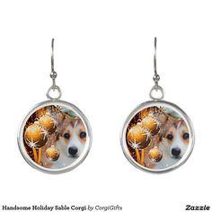 Handsome Holiday Sable Corgi Earrings