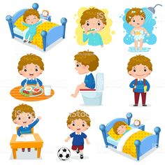 Illustration of daily routine activities for kids with cute boy - Vida Saludable Daily Routine Activities, Everyday Activities, Activities For Kids, Daily Routines, Free Vector Art, Free Vector Images, Current Picture, Cartoon Kids, New Kids
