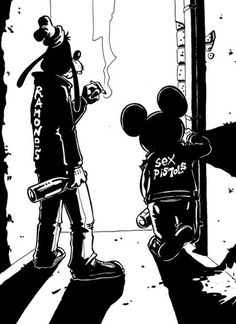 Disney Punk Mickey and Goofy Disney Punk, Dark Disney, Disney Art, Disney Mickey, Hipster Disney, Disney Style, Cartoon Cartoon, Cartoon Kunst, Alternative Disney