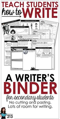 I love the idea of a writer's notebook but, as a high school teacher, I don't have a lot of time for cutting and pasting. My students also need more room to write. So, I created a writer's notebook that can be stored in a binder, one that allows room for Writing Strategies, Writing Lessons, Writing Resources, Teaching Writing, Writing Activities, Writing Ideas, Writing Skills, Math Lessons, Teacher Resources