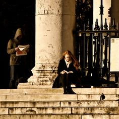 Reading on the Steps (by garryknight)