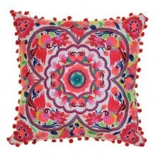 Acapulco Embroidered Cushion Coral