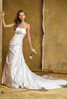 Wedding Dresses - Shirred Satin Wedding Gown with Jeweled Empire from Camille La Vie and Group USA