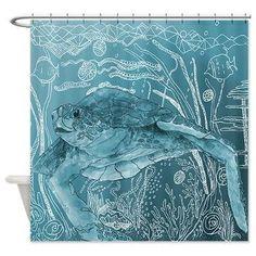 Artistic Shower Curtain - Shelley of the Deep Blue Sea -  Watercolor Art, Sea Turtle, Surf, beach, surfer, blue, coastal decor, bathroom