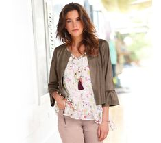 Sako v semišovom vzhľadu Floral Tops, Summer Outfits, Spring Summer, Women, Fashion, Elegant, Woman Clothing, Mantle, Jacket