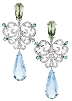 Gemstone and diamond earrings by Brumani. Via CIJ Jewellry Magazine.