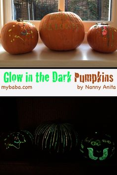 Use glow in the dark paints to create these spooky no-carve pumpkins for halloween.