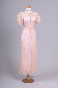 1940 Peach Silk Lace Vintage Wedding Gown