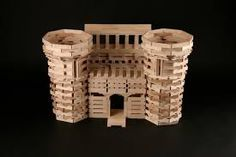 Tons of Keva Plank building ideas! Wooden Building Blocks, Wooden Blocks, Jenga, Plank Challenge, Wooden Buildings, Wood Toys, Projects For Kids, Medieval Castle, Things To Sell