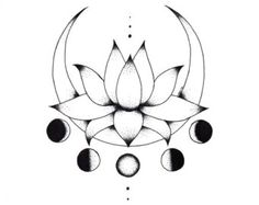 Media Luna y flor de loto inspirada de luna de por CiciGeeStudio
