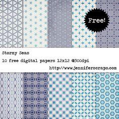 Stormy Seas - Free Digital Paper Pack...Blue, grey, dusky purple. 10 High…