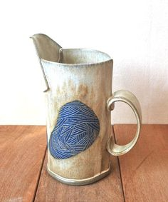 Ceramic Water Pitcher, Tall Pottery Jug, Decorative #housewares @EtsyMktgTool #ceramicpitcher #waterpitcher #decorativevase