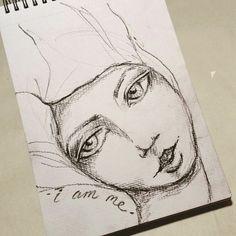 I am me.  Sketch using charcoal pencil today.  #sketching #girlart #artsketch #sketch #face #toniburt #iamme