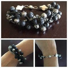 """Black & Silver Bead Bracelet with Magnetic Clasp Beautiful!  Fun!  Black & Silvertone Bead Bracelet with Magnetic Clasp.  8-1/2"""". Jewelry Bracelets"""