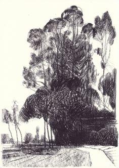 Landscapes by Andrea Serio Landscape Drawing Tutorial, Landscape Drawings, Landscape Art, Landscape Design, Tree Drawings Pencil, Nature Sketch, Artist Sketchbook, Art Et Illustration, Building Art