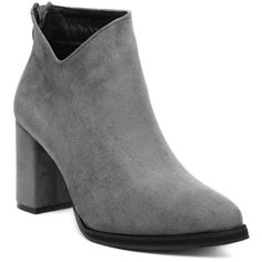 Pointed Toe Chunky Heel Flock Ankle Boots ($43) ❤ liked on Polyvore featuring shoes, boots, ankle booties, short boots, pointed toe bootie, bootie boots, pointed-toe ankle boots and chunky heel bootie