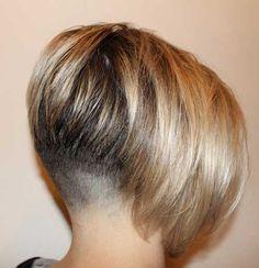 Blonde Shaved Nape Bob