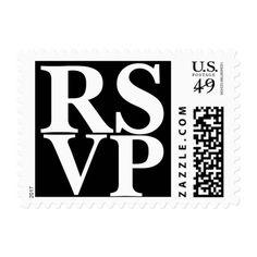 RSVP Black And White Formal Wedding Invitation Postage