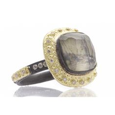 Carved Cushion-Cut Stack Ring with Painted Mother of Pearl Doublet  Old World blackened sterling silver and 18k yellow gold carved painted Mother of Pearl/Quartz doublet cushion-cut stack ring with white diamonds. Diamond Weight 0.15ct https://facebook.com/DiamondDreamFineJewelers https://twitter.com/Diamond_Dream_ https://instagram.com/diamonddreamjewelers