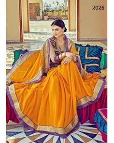 Mustard Yellow Satin Silk Partywear Saree
