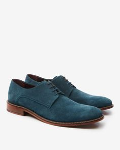 Classic suede derby shoes - Teal | Shoes | Ted Baker