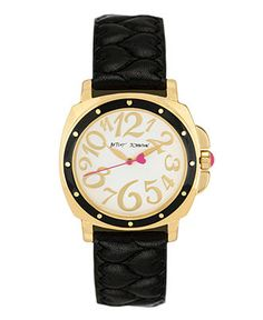 Betsey Johnson Watch, Women's Black Quilted Leather Strap BJ00044-02 - Betsey Johnson - Jewelry & Watches - Macy's