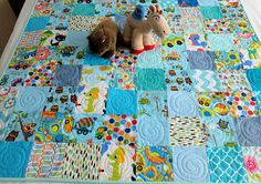 Blue baby or toddler patchwork quilt playmat baby quilt