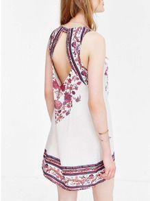 White Spaghetti Strap Backless Vintage Print Dress
