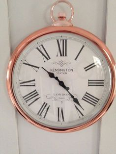 Copper / Rose Gold Round Pocket Watch, Kensington Station Wall Clock Copper Rose, Rose Gold, Kensington London, Copper Wall, Copper Kitchen, Roman Numerals, New Room, Gold Style, Interior Styling