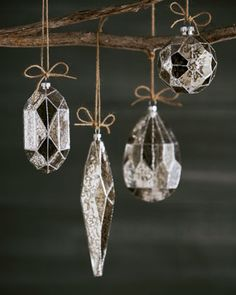 Silvered Glass Christmas Ornaments
