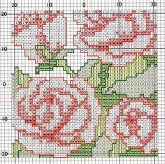 Points de croix *<3* Biscornu aux roses