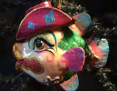 Katherine's Collection Western RODEO Clown Cowgirl Cowboy Kissy Fish Ornament