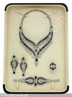 ELIE CHATILA sapphire and diamond parure
