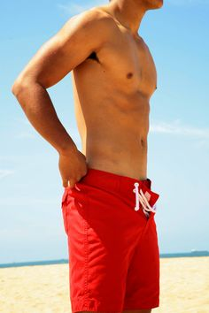 Red volley shorts.