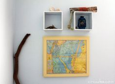 framed vintage map of the ocean - beach house