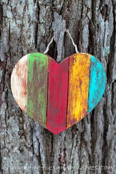 Antiqued Wooden Heart Craft for Kids | Fireflies and Mud Pies