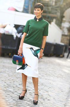 Jil Sander Bird Print skirt, color blocked bag, and cameo.