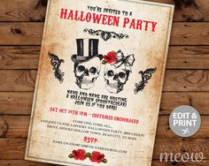 Halloween Invitation Party Printable INSTANT by wowwowmeow on Etsy