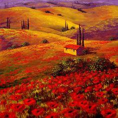 Tuscany Poppy Hills by sesillie I RedBubble